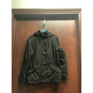 Lands End Brown Jacket Small Hooded Zip Button